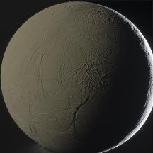 Enceladus Backlit by Saturn