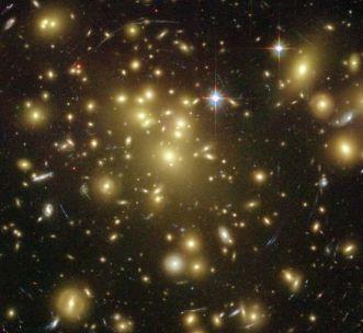 Galaxy Cluster Abell 1689 - dark matter warps space