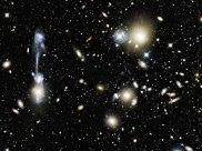 Galaxy Collision in Cluster Abell 1185