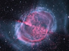 M27 The Dumbbell Nebula - closer - This is what might happen to our sun when it runs low on fuel and the fision reactions stop. A very pretty but very violent explosion. More info here http://apod.nasa.gov/apod/ap140914.html