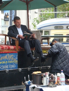 Nice Day For A Shoe Shine in San Francisco's Financial District - m