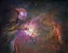 Orion Nebula - Yes, all this stuff (some colors enhanced) is around the constellation Orion which is a massive star forming region. More than 3,000 stars of various sizes appear in this image. This photo required a number of cameras and a spectrometer to gather all the detail in the photo.