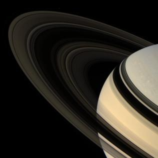 Saturn and Rings on Tilt in natural color
