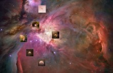 Solar systems forming - found in the Orion Nebula - Want to find them yourself? Go to the link below, click on the pic, a larger file/pic will download in the browser, drag/download that resulting larger pic & zoom in..... http://apod.nasa.gov/apod/ap120715.html For reference, the posted photo is from the European Space Agency and can be found with more info at http://www.spacetelescope.org/news/heic0917/