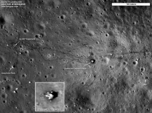 Apollo 17 landing site on the Moon. Photo taken in 2009 by the Lunar Reconnaissance Orbiter (LRO). You can see the lunar lander and rover tracks. From http://apod.nasa.gov/apod/ap110908.html
