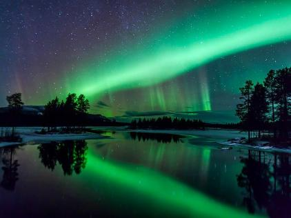 Aurora over Arjeplog, Lapland, Sweden - photo by Maria Sundqvist