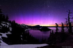 Pink Aurora over Crater Lake, Oregon. Found on NASA's APOD http://apod.nasa.gov/apod/ap120725.html - Photo by Brad Goldpaint http://goldpaintphotography.com/