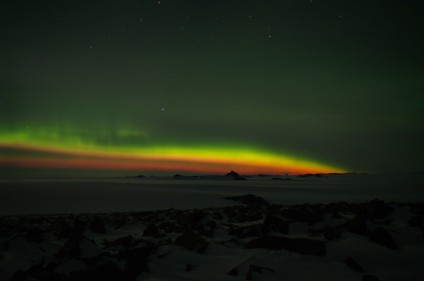 Red and Green Aurora - Southern Lights Over Antarctica - From Spaceweather.com 4-7-2010 - Photo by André Harms