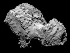 Comet 67P Churyumov-Gerasimenko on August 2, 2014 taken from the Rosetta spacecraft. How big is this dusty snowball? 5 miles across. - more at http://apod.nasa.gov/apod/ap140807.html