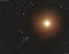 Comet Siding Spring Passes Mars at closest approach Oct-19-2014. Yeah, that really bright orangy thing is not the sun; it's Mars with sunlight bouncing off of it -- More at http://apod.nasa.gov/apod/ap141020.html