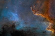 CygnusWall of the North America Nebula - data shows sulfur, hydrogen, and oxygen atoms. More info at http://apod.nasa.gov/apod/ap140703.html