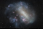 The Large Magellanic Cloud - is actually a sattelite galaxy to the Milky Way believed to be formed (or left over) when the Milky Way collided with another galaxy long ago. More at http://apod.nasa.gov/apod/ap150827.html