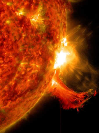 Solar Flare on October 2, 2014 - more info at http://www.nasa.gov/content/goddard/nasa-releases-images-of-mid-level-solar-flare/#.VC3C-6iOSUk