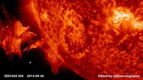 Solar Prominence Erupts - Earth to scale - more info AND VIDEO at http://www.observingspace.com/339/solar-prominence-erupts-september-26-2014/