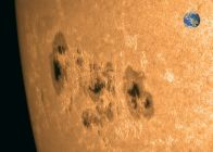 Sunspots with Earth to scale - taken May 6, 2015 - from http://www.spaceweather.com/archive.php?view=1&day=07&month=05&year=2015