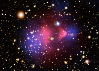 The Bullet Cluster - Two colliding clusters of galaxies. The photo shows dark matter detected (in color). Amazing photo - explanation here http://apod.nasa.gov/apod/ap060824.html