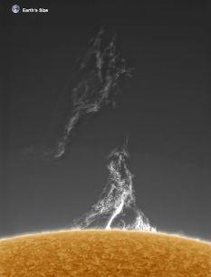 Towering Inferno of plasma (with Earth to scale) - more at http://www.spaceweather.com/archive.php?view=1&day=16&month=05&year=2015